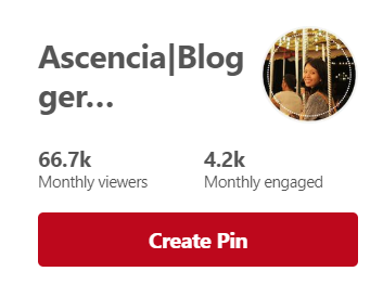 My Pinterest profile, 66.7k monthly viewers and 4.2k monthly engaged