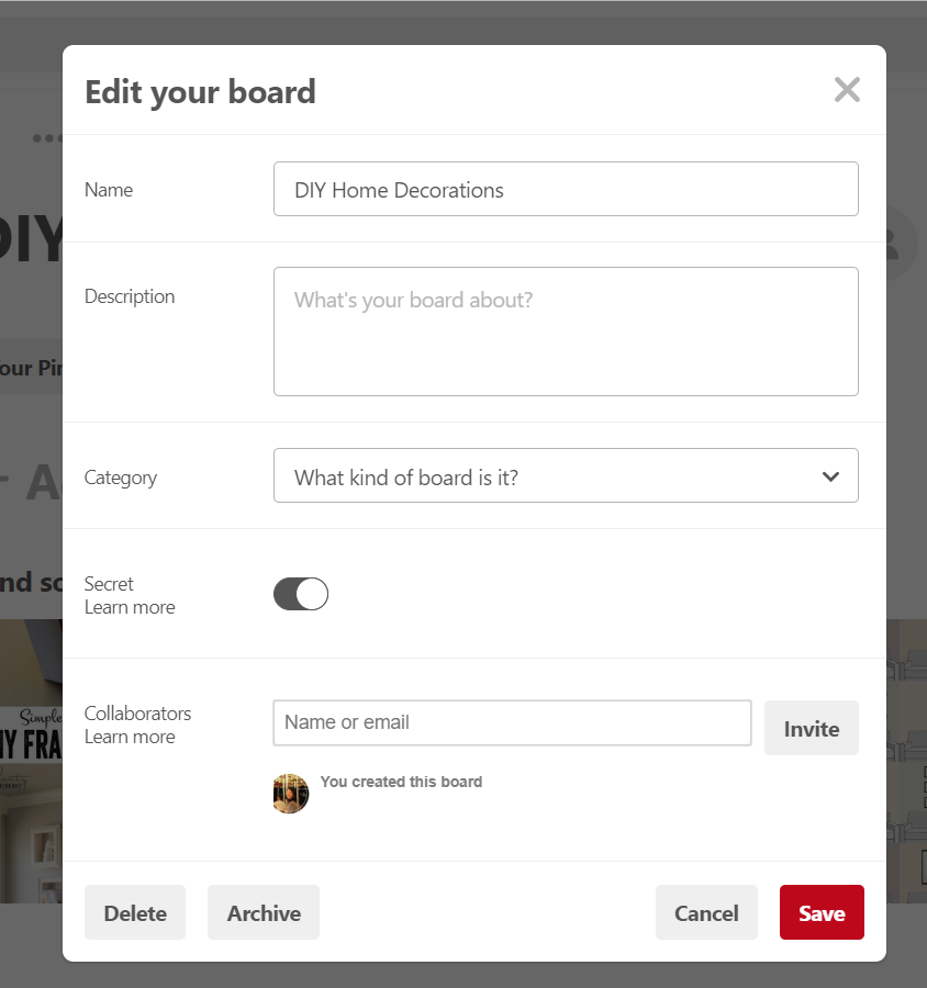 Create board Pinterest