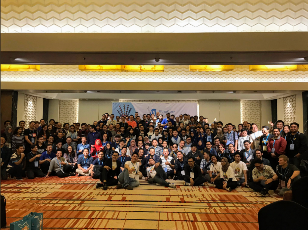 group photo of WordCamp Jakarta 2019