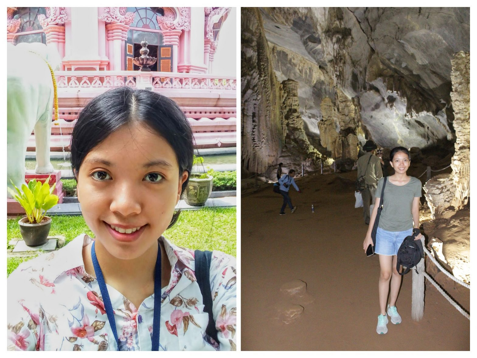 collage of a photo of me in Thailand and a photo of me in Vietnam last year