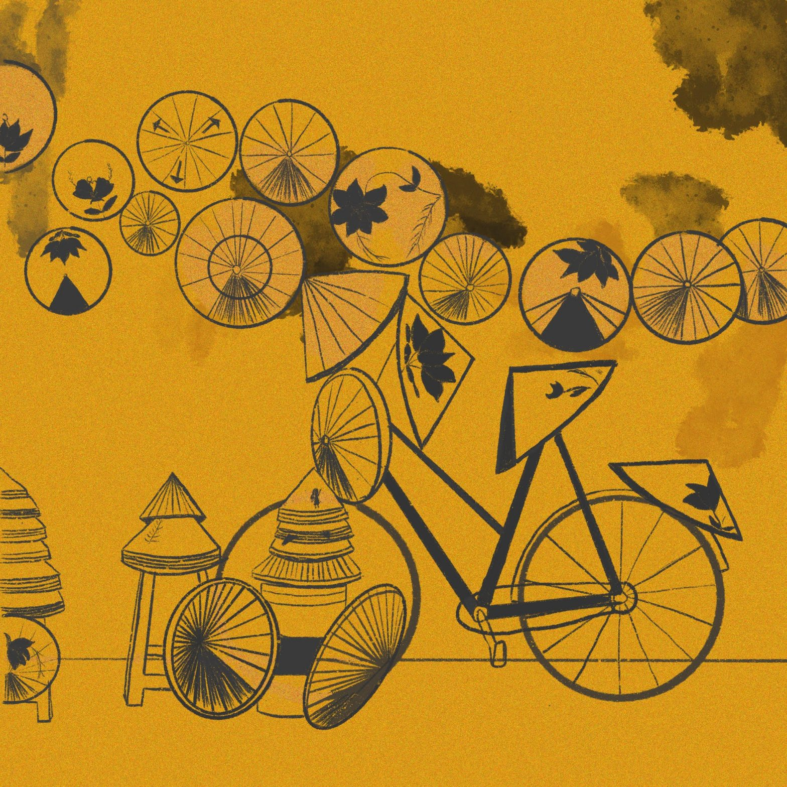 drawing of a bicycle and Vietnamese bamboo hats