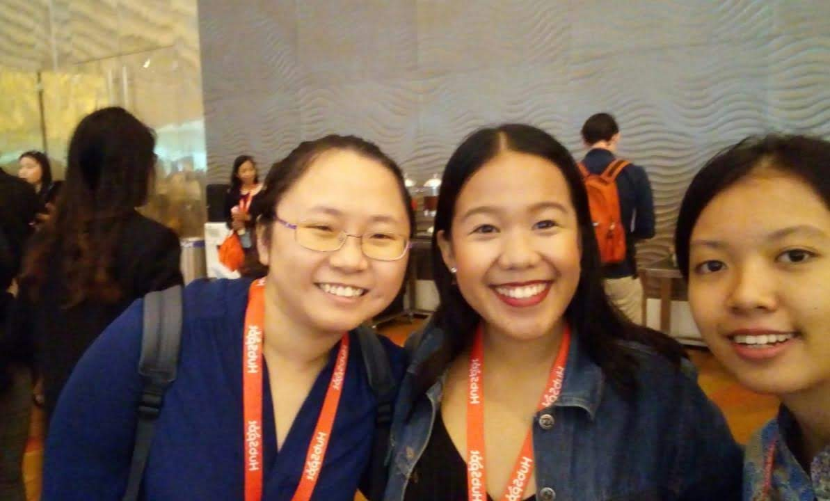 Photo of me, Pam, and Sheryl at GROW with HubSpot Singapore 2018