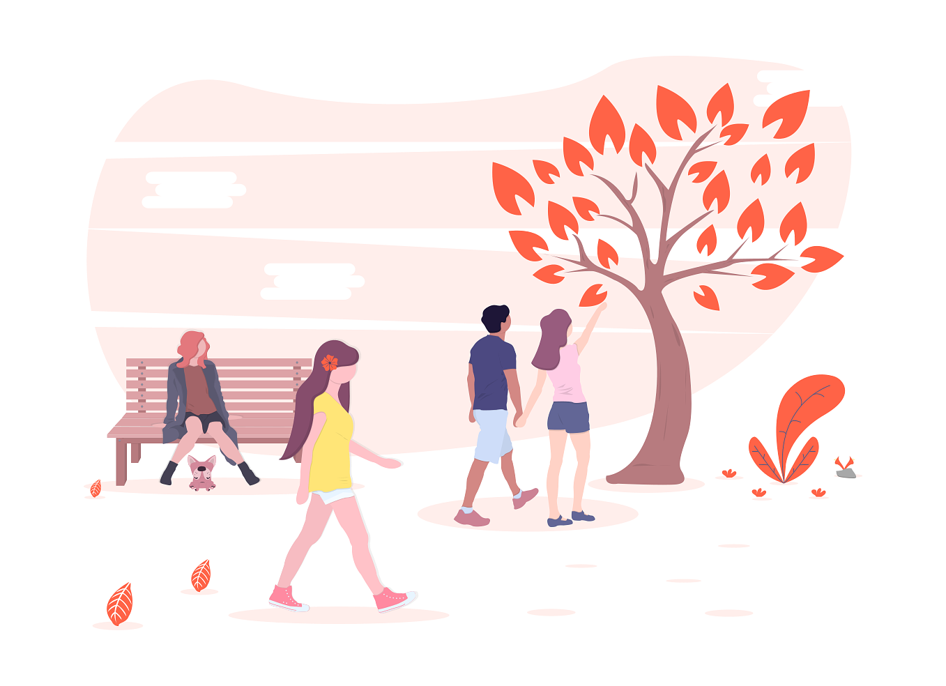 some people at the park illustration
