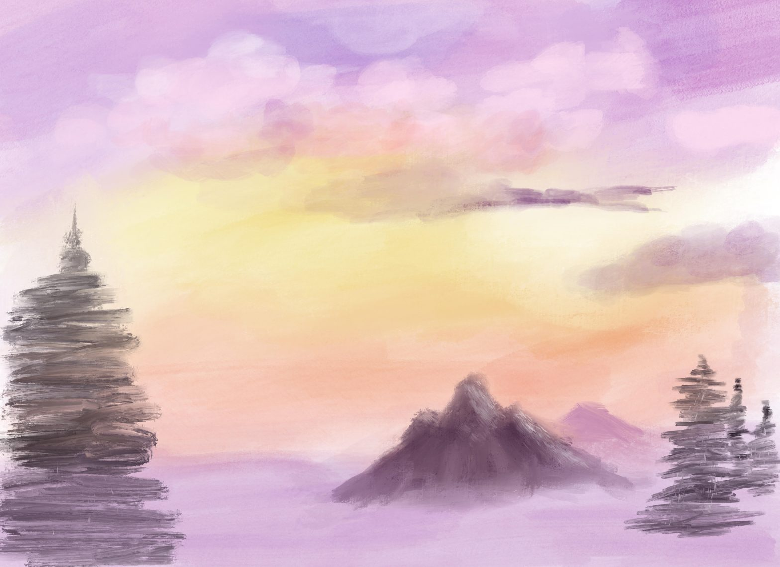 drawing of sunset and mountains